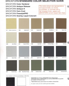 Brickform Color Hardner-Release Chart 1