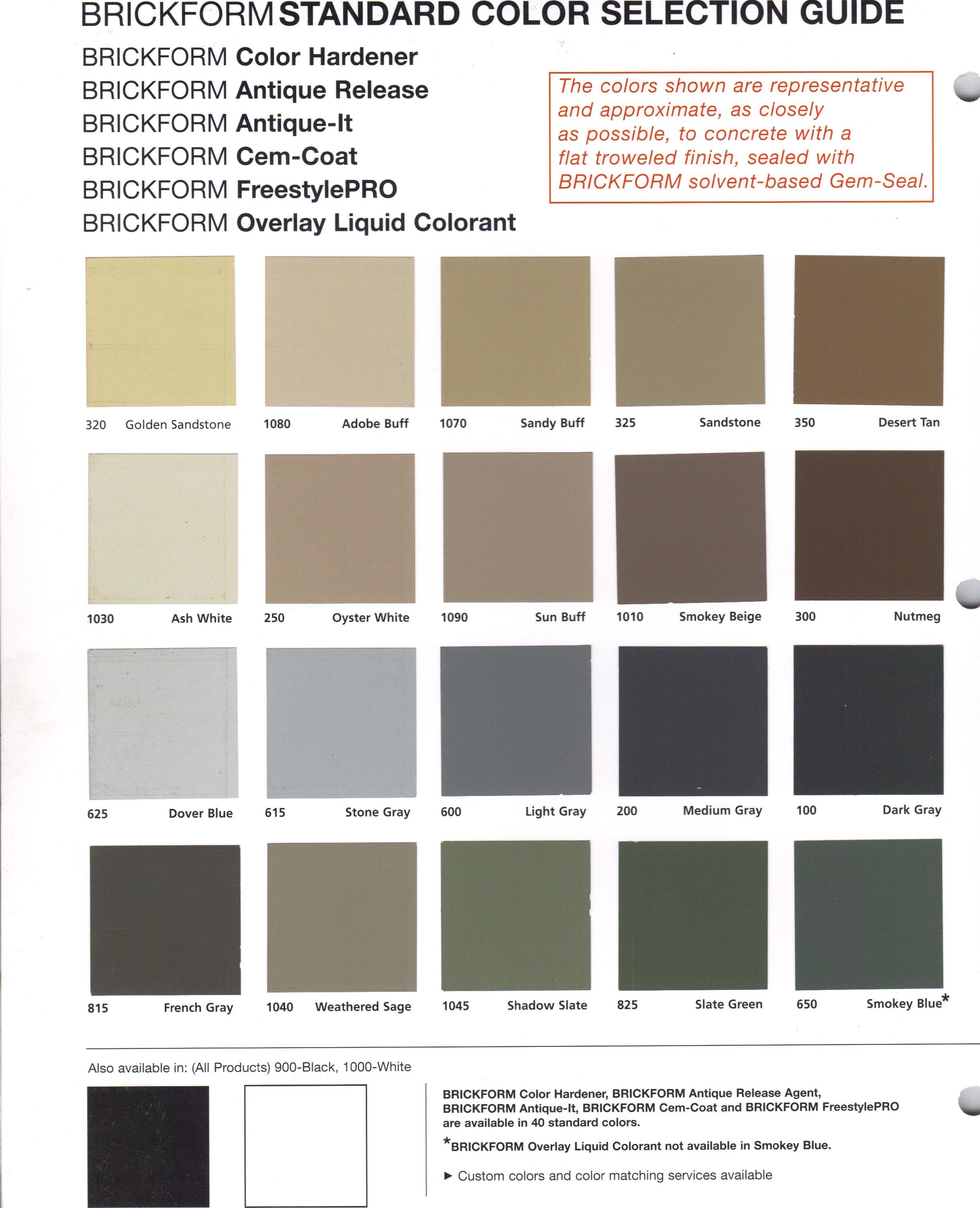 Brickform Color Hardner Release Chart 1