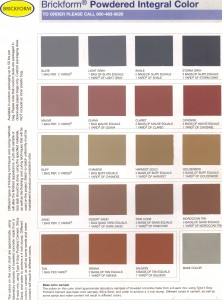 Brickform Integral Color Chart