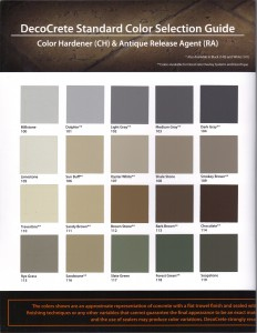 DecoCrete Color Hardner-Release Chart 1