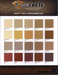 DecoCrete Color Hardner-Release Chart 2