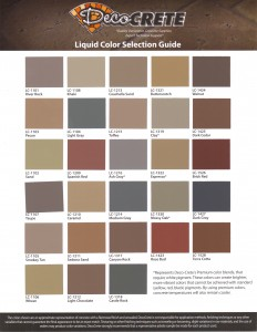 DecoCrete Integral Color Chart